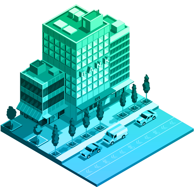 Illustration of bank building with blue to green gradient
