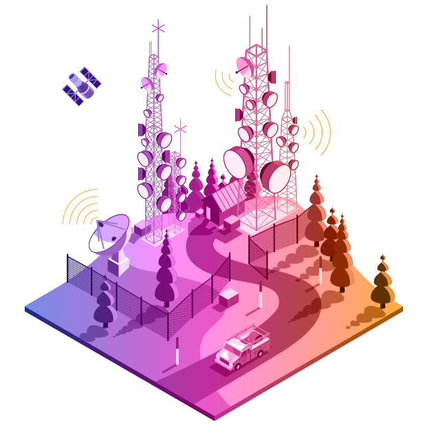 Telecommunications illustration with purple to yellow gradient